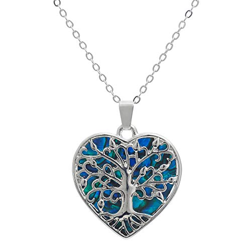 Byzantium Collection Paua Shell Natural Abalone Magical Coy Heart Tree of Life Necklace in Delicate Blue/Green, Rhodium Plated, 24mm in Size (P1201) See Matching Earrings P388 Byzantium