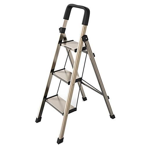 Escalera plegable taburete banqueta Escalera marrón de 3 peldaños, escalera de tijera...