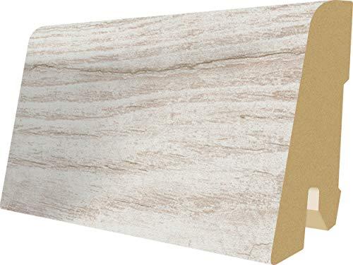 EGGER Home Sockelleiste weiß L204 Fußleiste | Bodenleiste 2,4m passt zu EHL017 Cascina Pinie, EHC008 Villefort Pinie weiss