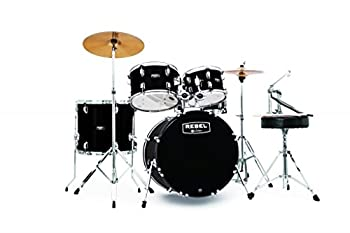 Mapex RB5294FTCDK Rebel 5-Piece Drum Set with Hardware Cymbals and 22  Bass Drum - Black