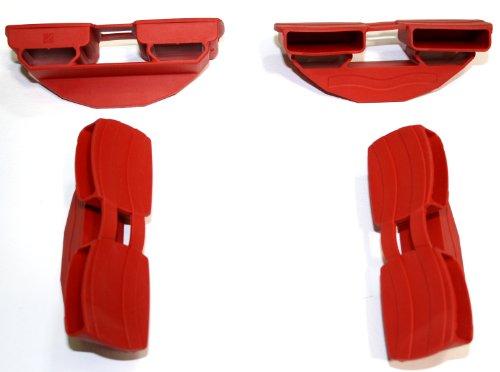 BOSSASHOP.de 10er Set Doppel-Kautschukkappen für Federholzleisten der Stärke 8mm und Breite 35mm (rot)