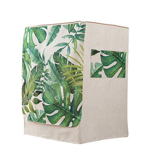 VOSAREA - Funda de protección para lavadora de carga frontal, lavadora o secadora, impermeable (diseño de hojas de palmera tropical)