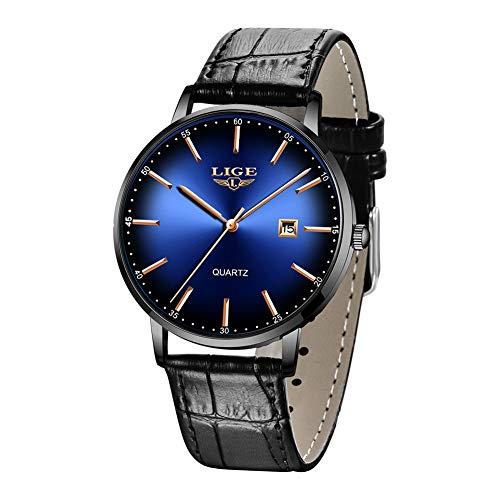 LIGE Herren Uhren Ultra Dünne wasserdichte Analoge Quarz Herren Armbanduhr mit Date Einfach Mode Echtleder Armbanduhren für Herren Blau
