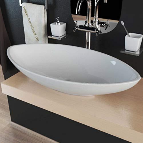 Design Keramik Waschbecken Aufsatzwaschbecken Waschtisch Waschschale oval KBW256