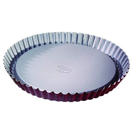 Dr. Oetker Obstkuchenform Ø 28 cm, Backform für Obsttorten, runde Kuchenform aus Stahl mit zweifarbiger Antihaftbeschichtung (Farbe: grau/rot), Menge: 1 Stück