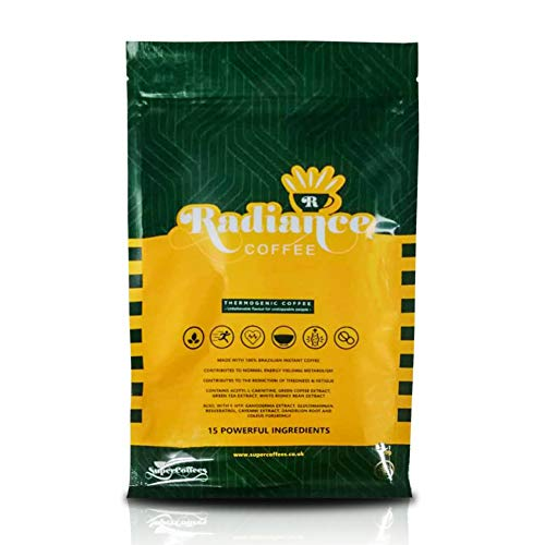 Supercoffees Radiance Coffee Supports Weight Management - 15 Ingredient Complex Skinny Coffee Work as Preworkout Energy Drink - Green Coffee Bean Extract Helps to Reduce Bloating - 150 Grams