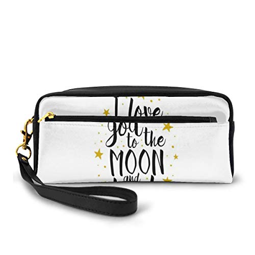 Pencil Case Pen Bag Pouch Stationary,I Love You to The Moon and Back Doodle Stars Hand Writing Inspirational,Small Makeup Bag Coin Purse