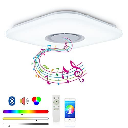 MAKELONG Iluminación de techo de interior, 52W 480mm 4300lm, Plafonnier Plafón LED Lámpara de Techo con Altavoz Bluetooth, 3000-6500K + RGB ajustable candelabro, Modo de luz nocturna, APP Disponible