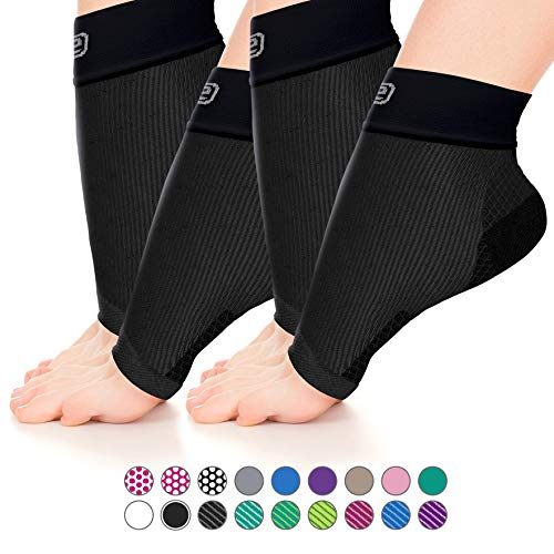 Go2 Plantar Fasciitis Socks|Best Ankle Compression Brace 22-25 mmHg|Arch Support Joint Heel Pain Relief|Foot Sleeves for Women and Men Reduce Swelling|Relieve Achilles Tendonitis(2p Solid Black, M)