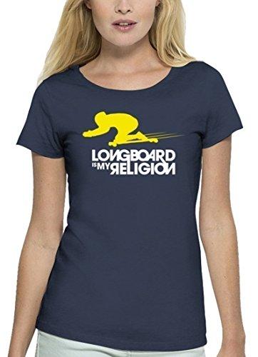 Longboarder Premium Damen T-Shirt aus Bio Baumwolle Longboard is My Religion Stanley Stella, Größe: M,Navy