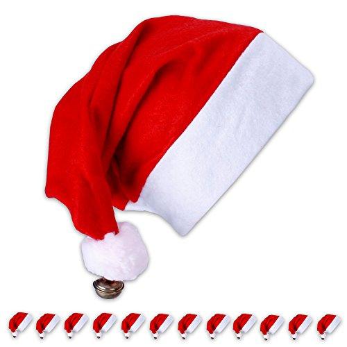 12 x kerstmuts kerstmuts rood met bel + pompon