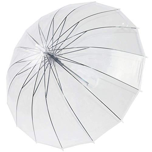 XHCP Paraguas de Varilla Transparente con Domo a Prueba de Viento, Abierto automático, 16 Varillas de Acero, Paraguas de Burbuja de Gran tamaño KS10, Blanco