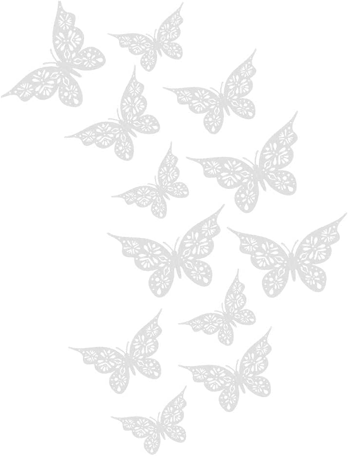 Shiker Great interest 12PC 3D Special Campaign Hollow Butterfly Sizes Wall Décor 3