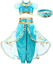 FUNNA Costume for Girls Princess Kids Dress Up Outfit Party Supplies, 10 Years Blue
