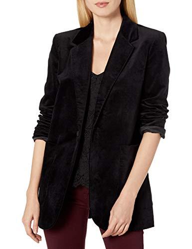 AG Adriano Goldschmied Baylee Womens Oversized Velvet Blazer, Super Black, S