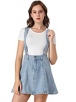 Allegra K Women s Denim A-Line Overall Adjustable Strap Braces Mini Suspender Skirt Medium Blue
