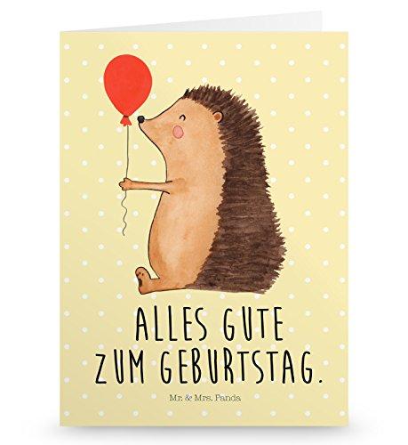 Mr. & Mrs. Panda Geburtstagskarte, Glückwunschkarte, Grußkarte Igel mit Luftballon mit Spruch - Farbe Gelb Pastell