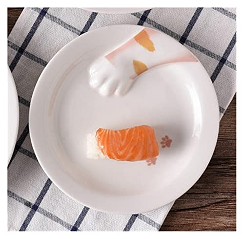 JSJJAHN Plato de Cena Cuenco de Gato de Placa de Pata de Gato, Placa de Porcelana Blanca, 2 diseños Actualmente Disponibles (Color : White, Size : Small (18cm))