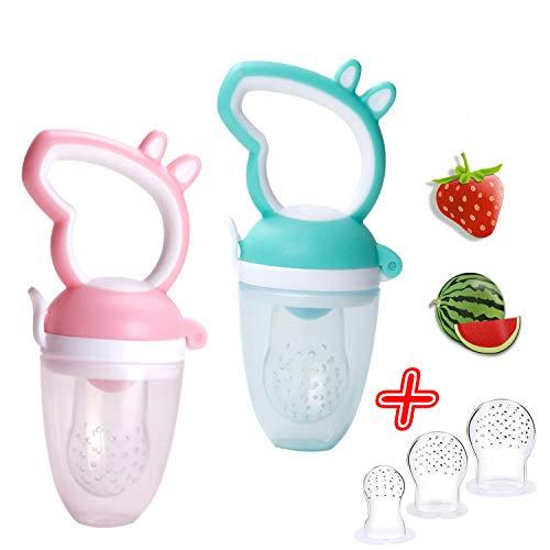 2x Premium Fruchtsauger für Baby + 3 Silikon Sauger in 3 Größen - BPA-frei - Kleinkind Säugling 2 Stück Schnuller Beißring für Obst Gemüse Eis Muttermilch Beikost Brei Schätzchen 5 Teile SET (Rosa)