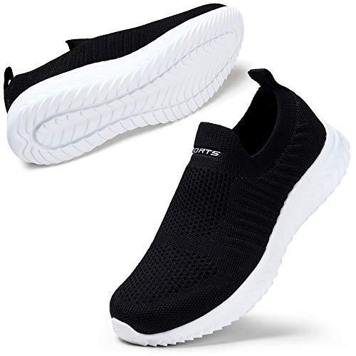 Schuhe Damen Sneaker Übung Schlüpfen Mode Sneakers breite Passform Schuhe für Frauen Leichte Laufschuhe Schwarz EU 41