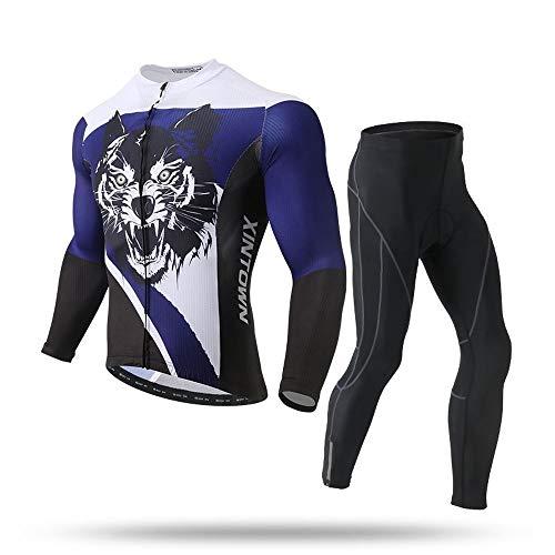 XINTOWN Fietsshirt voor heren, korte mouwen, jersey met elastisch ademend, snel fleece outfit, lange mouwen