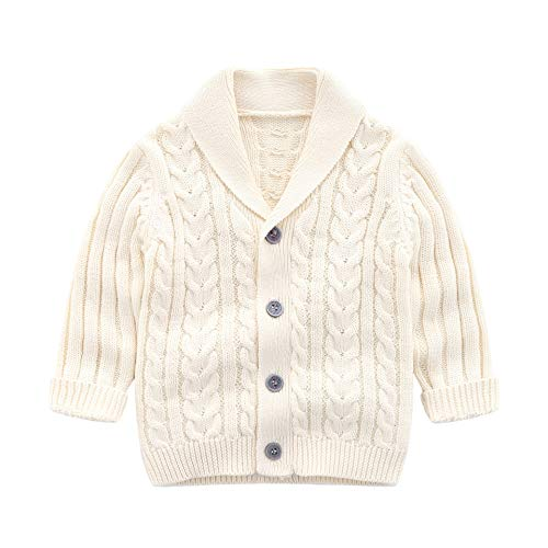 Infant Baby Boys Cardigan Crochet Sweater VNeck,Toddler Knit Button up Knitted Pattern Pullover Sweatshirt Spring Beige 612M