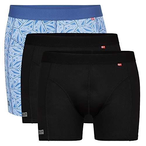 DANISH ENDURANCE Herren Sport Boxershorts, Atmungsaktiv, Sportunterwäsche, Schwarz, Grün, 3 Pack (Mehrfarbig (2 x schwarz, 1 x blau mosaik), Large)