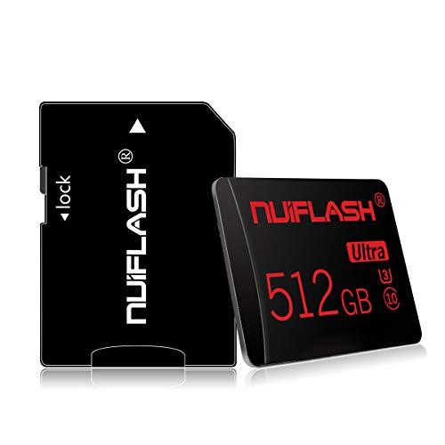 Scheda di memoria Micro SD da 512 GB con adattatore per scheda SD (velocità veloce classe 10) Microsd TF, scheda di memoria SD per fotocamera, cellulare, tablet, fotocamera, GPS, dashcam, monitoraggio