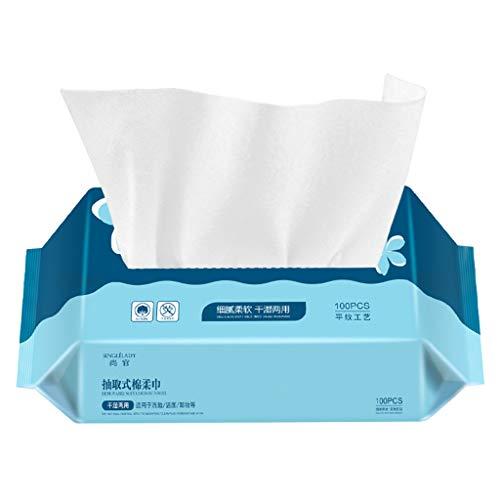YU-HELLO - Toalla de cara desechable para piel sensible, algodón, limpieza facial, color h