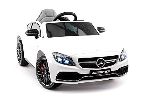 Moderno Kids Mercedes C63S 12V Power Children Ride-On Car with R/C Parental Remote + EVA Foam Rubber Wheels + Leather Seat + MP3 USB Music Player + LED Lights (White)