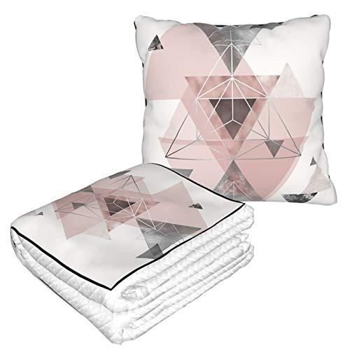 Manta de almohada de terciopelo suave 2 en 1 con bolsa suave abstracta Geo en color rosa y gris funda de almohada para casa, avión, coche, viajes, películas