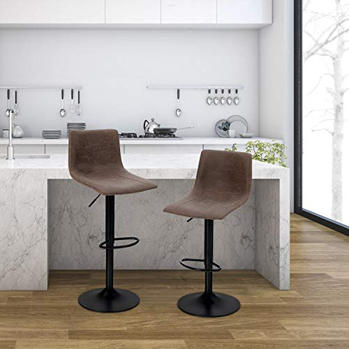 PHI VILLA Bar Stools Set of 2,Adjustable Counter Height Bar Stools with Footrest and Square Back for Living Room,and Kitchen,PU Leather,350 lbs Capacity,Brown