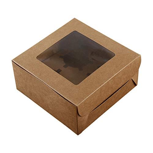 BESTonZON 10 unids 4 cavidades Kraft Papel Caja de la Magdalena contenedores de Postre panadería Pastel portadores con Inserto de Ventana para el hogar Postre Shop