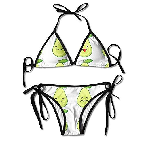 Bikini con Diseño De Aguacate Traje De Baño De Verano para Mujer Top Triangular Bikinis Traje De Baño Conjunto De 2 Piezas Sexy