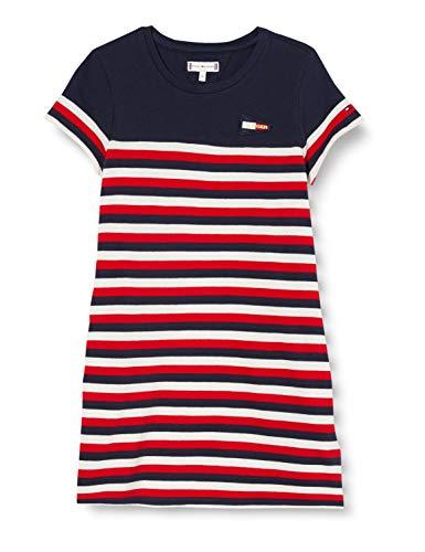 Tommy Hilfiger Mädchen Stripe Tee Dress S/s Kleid, Weiß (White/Twilight Navy/Crimson Red 0fb), One Size (Herstellergröße: 80)