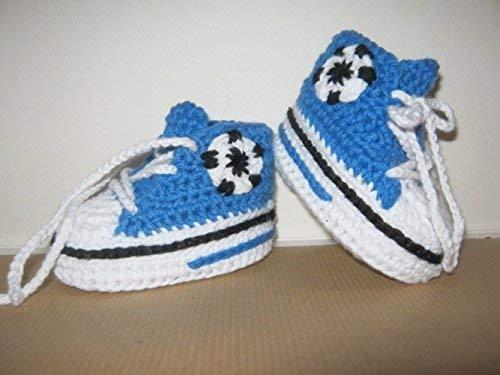 Babyschuhe - Fußballschuhe - Turnschuhe - Sneaker gehäkelt gestrickt Schuhgröße 14/15