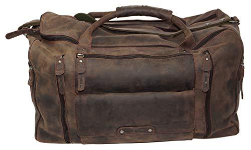 Greenburry Vintage Reisetasche Leder Braun Groß - Weekender Herren und Damen – Echt Leder Wochenendtasche - Sport-Tasche - Travel Bag Handgepäck - Schultergurt und Tragegriff