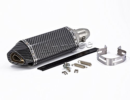 Qiilu Universal Motorcycle Exhaust Muffler Stainless Steel 1.5-2 Inlet Slip-on Exhaust Pipe Muffler with Removeable DB Killer Muffler Tip Black