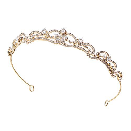 Sharplace Kristall Strass Haarband Krone Haarspange für Hochzeit, Prinzessin Charms Krone Braut Haarreif Stirnband für Damen, Mädchen - Golden