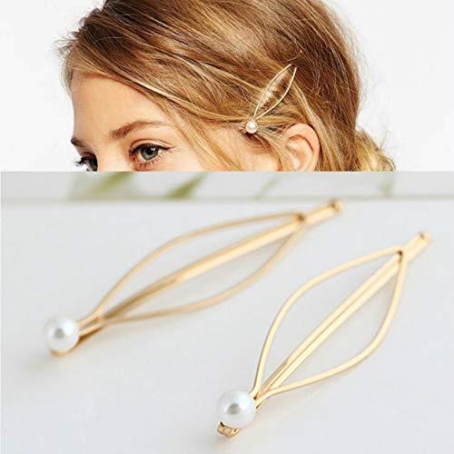 DASFNVBIDFAHB 3 PCS Bridal Flower Side Barrettes Perle Nuptiale Headpiece Accessoires de Mariage (Color : Gold)