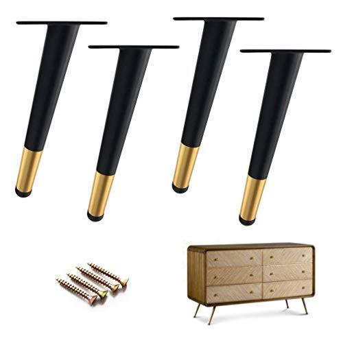 Möbel Tisch Beine Sofa Beine Bett Riser 4pcs Möbel Beine Eisen, Sofa Füße Möbelzubehör von Tischgehäuse Metall Beine, starke Tragfähigkeit, konisch, Schwarz ( Farbe : Quantity: 4 , Size : 18cm/7.1in )