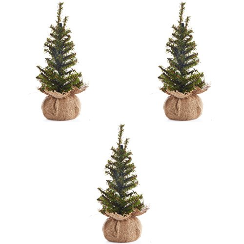 Factory Direct Craft Group of 3 Artificial 12' Pine Christmas Trees with Burlap Base