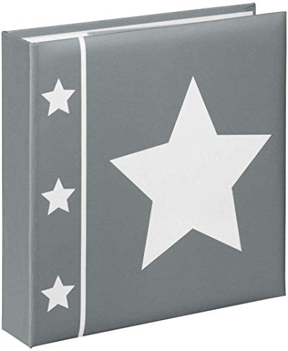 """Hama Einsteck-Fotoalbum """"Skies"""" (Memo-Album mit 100 Seiten, zum Einstecken von 200 Fotos im Format 10x15, Stern Motiv, 22,5x22) Einsteckalbum Fotobuch grau"""