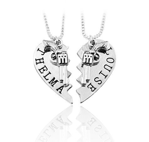 2pcs THELMA LOUISE Pendant Necklaces Guns Heart Friendship Adventure Freedom Best Friends Forever