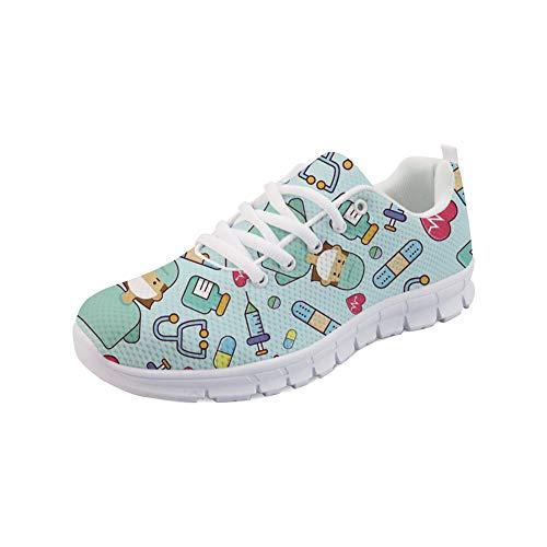 Woisttop Medical Nurse Zapatos para Correr para Mujer Zapatillas de Aire Ligeras City Road Run Zapatillas con Cordones Athletic Gym Walkers Calzado Transpirable,EU37
