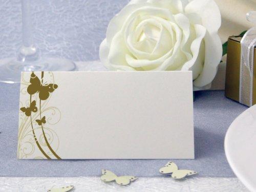 EinsSein 50x Tischkarten Hochzeit Liebesfalter Gold Hochzeit, Tischkarten, Platzkarten, Namenskarten, Herz Schmetterling Stuhl Rosen Ringe