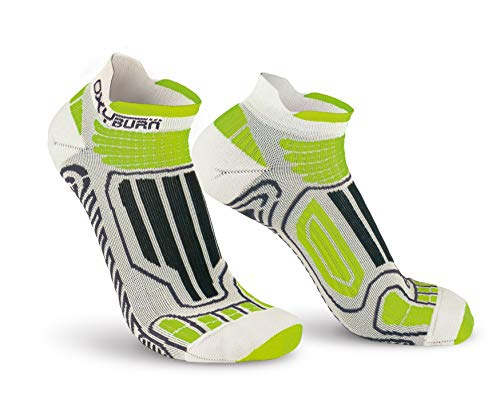 Oxyburn Running Low-Cut Dry-Tech Carbon S Chaussettes Homme, Blanc/Vert Citron, Size 35/38
