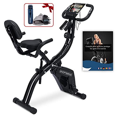 Vélo d'appartement pliable 2en1 d'exercice magnétique/ Vélo stationnaire de fitness pliant avec dossier /Bande de résistance et capteur de pouls /Cadeaux Gourde1l et serviette microfibre + e-book