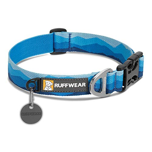 RUFFWEAR, Flat Out Dog Collar (Formerly Hoopie), Webbing Collar for Walking and Everyday Use, Blue Mountains, Small