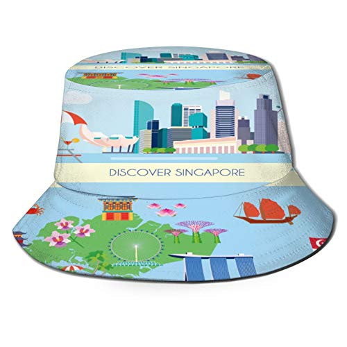 Yoliveya Angelhut Fischerhut,Zwei horizontal gefärbte Singapur-Kultur-Banner,Bonie Safari Sonnenhüte zum Wandern im Freien für Männer und Frauen
